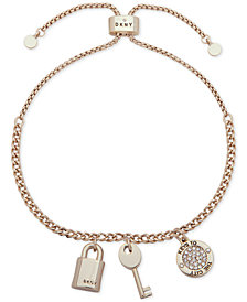 DKNY Gold-Tone Pavé Keys to the City Slider Bracelet, Created for Macy's