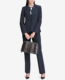 Calvin Klein Pinstriped One-Button Blazer & Modern Boucle Pants