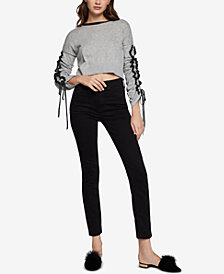 BCBGeneration Ruffled Cropped Cotton Sweater