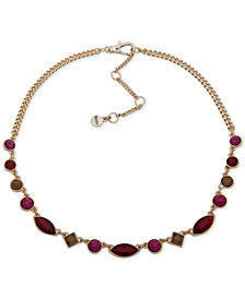 """DKNY Crystal Collar Necklace, 16"""" + 3"""" extender, Created for Macy's"""