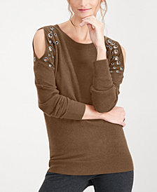 I.N.C. Petite Grommet Cold-Shoulder Sweater, Created for Macy's