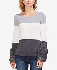 Vince Camuto Faux-Fur Cuff Sweater