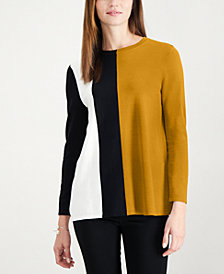 Alfani Petite Colorblocked Sweater, Created for Macy's
