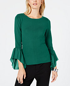 I.N.C. Flared Georgette-Cuff Sweater, Created for Macy's