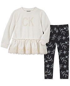 Calvin Klein Baby Girls 2-Pc. Velour Tunic & Leggings Set