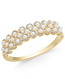 Charter Club Gold-Tone Pavé & Imitation Pearl Bangle Bracelet, Created for Macy's