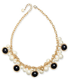 "Charter Club Gold-Tone Pavé, Imitation Pearl & Bead Shaky Collar Necklace, 17"" + 2"" extender, Created for Macy's"
