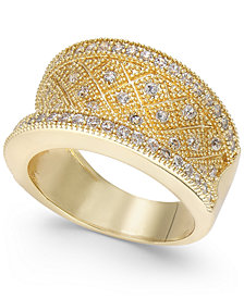 Charter Club Gold-Tone Crystal Pavé Statement Ring, Created for Macy's