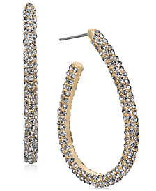 Charter Club Gold-Tone Pavé Elongated Hoop Earrings, Created for Macy's