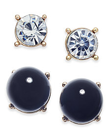 Charter Club Gold-Tone 2-Pc. Set Crystal & Jet Imitation Pearl Stud Earrings, Created for Macy's