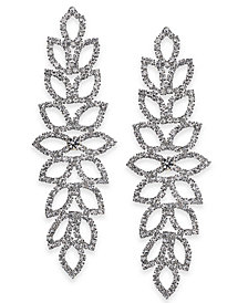 "Thalia Sodi Extra Large Silver-Tone Crystal Leaf Drop Earrings, 4"", Created for Macy's"