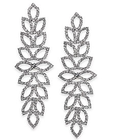 "Thalia Sodi Extra Large Crystal Leaf Drop Earrings, 4"", Created for Macy's"
