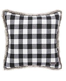 Eddie Bauer Cabin Plaid Fur Black Square Pillow