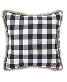 Eddie Bauer Cabin Plaid Faux Fur Black Square Pillow
