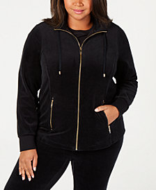 Charter Club Plus Size Velour Zip-Front Jacket, Created for Macy's