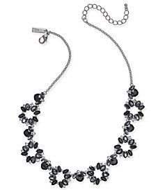 "I.N.C. Silver-Tone Black Crystal Collar Necklace, 18"" + 3"" extender, Created for Macy's"