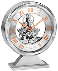 Decorative Silver-Tone & Rose Gold-Tone Desk Clock