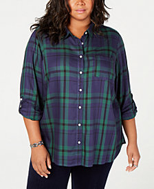 Tommy Hilfiger Plus Size Plaid Shirt, Created for Macy's