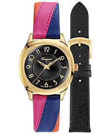 Ferragamo Women's Swiss Time Diamond-Accent Multicolored Leather Strap Watch 36mm Gift Set