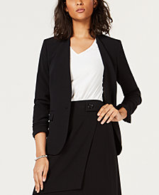 Bar III Collarless One-Button Jacket, Created for Macy's