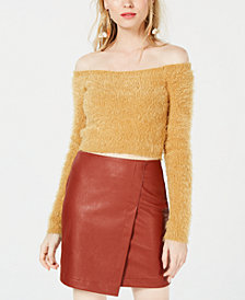 PROJECT 28 NYC Eyelash Off-The-Shoulder Sweater