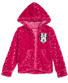 Disney Little Girls Minnie Mouse Faux-Fur Hoodie