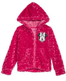 Disney Little Girls Minnie Mouse Faux-Fur Hoodie