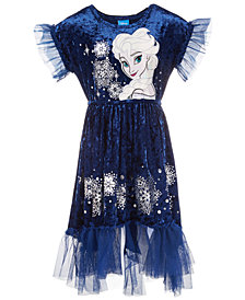 Disney Little Girls Elsa Crushed Velvet Dress