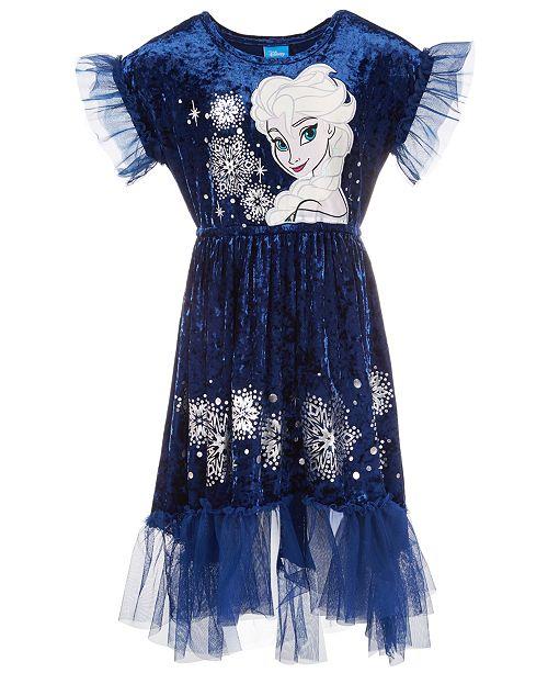Disney Little Girls Elsa Crushed Velvet Dress