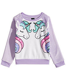 Awake Toddler Girls Unicorn-Print Faux-Fur Sweater