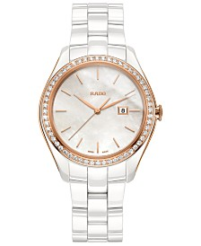 Rado Women's Swiss HyperChrome Diamond (3/8 ct. t.w.) White High-Tech Ceramic Bracelet Watch 36mm