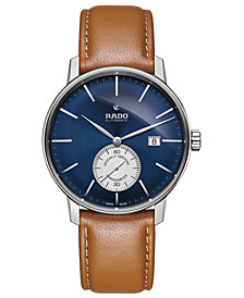 Rado Men's Swiss Automatic Chronometer Coupole Classic Brown Leather Strap Watch 41mm