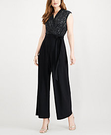 R & M Richards Embellished Wide-Leg Jumpsuit