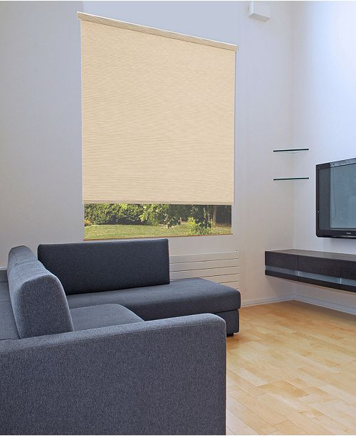 "US Shade & Shutter Cordless Linen Look Light Filtering Fabric Roller Shade, 27""  W x 66"""