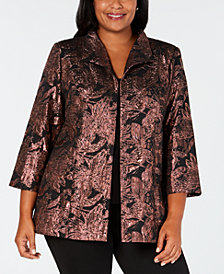 Alex Evenings Plus Size Metallic Jacquard Jacket & Top Set