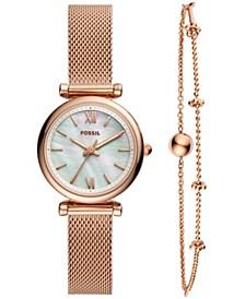 Women's Carlie Mini Rose Gold-Tone Stainless Steel Mesh Bracelet Watch Box Set 28mm