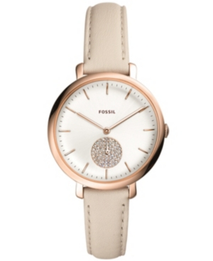 Fossil WOMEN'S JACQUELINE WINTER WHITE LEATHER STRAP WATCH 36MM