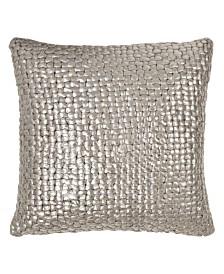 Michael Aram Chocolate Metallic Palm Basketweave Pillow