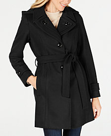 London Fog Hooded Belted Peacoat