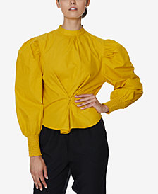 INSPR x Natalie Off Duty Puff Sleeve Poplin Top, Created for Macy's