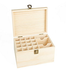 Mind Reader Essential Oil Wooden Storage Box Organizer, Brown