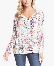 Karen Kane Floral-Print Peasant Top, Created for Macy's