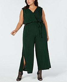 Monteau Trendy Plus Size Tie-Waist Jumpsuit