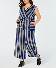 Monteau Trendy Plus Size Striped Jumpsuit
