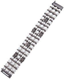 Givenchy Hematite-Tone Imitation Pearl & Pavé Bead Multi-Strand Bracelet