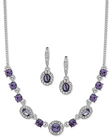"Givenchy Crystal & Stone Collar Necklace & Oval Drop Earrings Box Set, 16"" + 3"" extender, Created for Macy's"