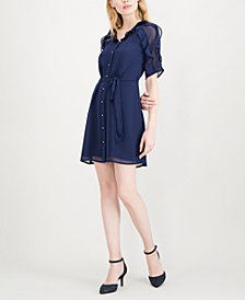 Maison Jules Ruffle-Trimmed Shirtdress, Created for Macy's