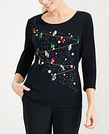 Karen Scott Holiday Cotton T-Shirt, Created for Macy's