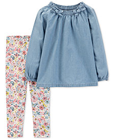 Carter's Baby Girls 2-Pc. Chambray Top & Floral-Print Leggings Set