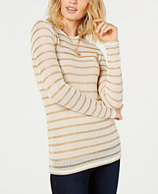 MICHAEL Michael Kors Metallic-Stripe Sweater, in Regular and Petite Sizes
